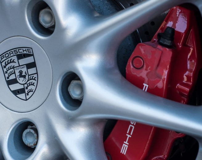 Colmar - France - 7 April 2018 - retail of porsche wheel with red brake